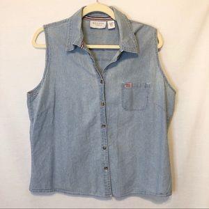Sonoma Sleeveless Button Down Thin Denim Shirt XL